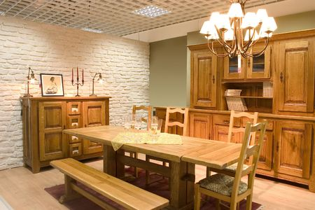Elegnat dining room with wooden furniture. Stock Photo - 5674614