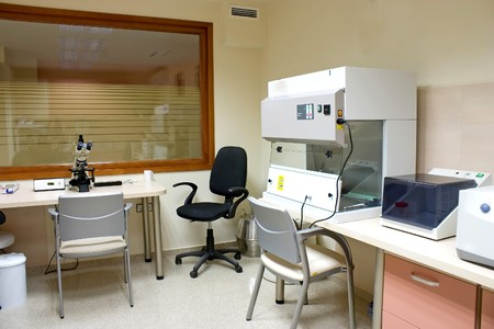 Medical Laboratory with a modern microscope and work place.