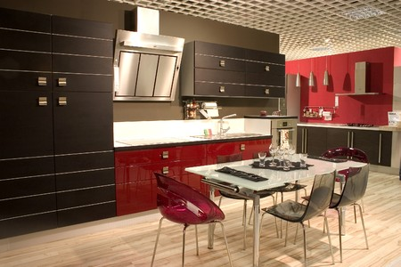 Modern kitchen and dining room with stylish furniture. Dining table adn chairs. photo
