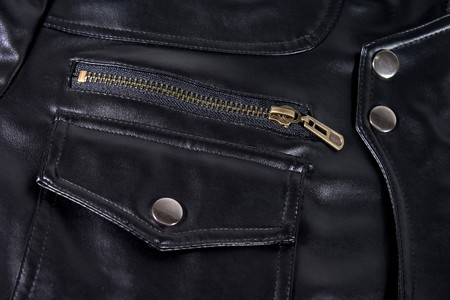 Close up of black leather jacket. Pocket and zipper. photo