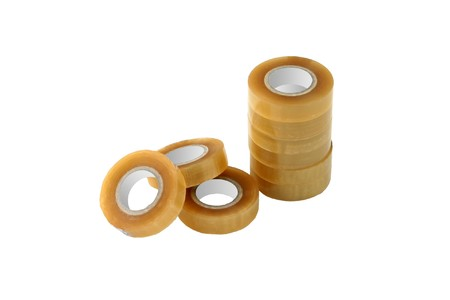 Adhesive tape rolls isolated on white background. Stock Photo