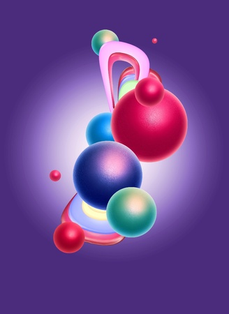 Abstract background design with colourful sphere shapes Stock Photo