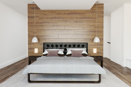 Modern bedroom interior in white fresh colors and wooden front wall  Stock Photo