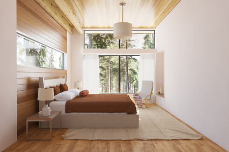 Bedroom interior with bed wooden front walls and big window with nature view