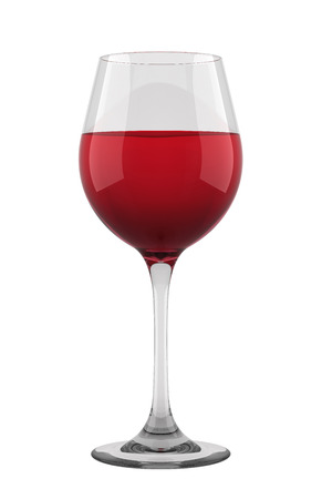 Glass of red wine isolated on white backgorund