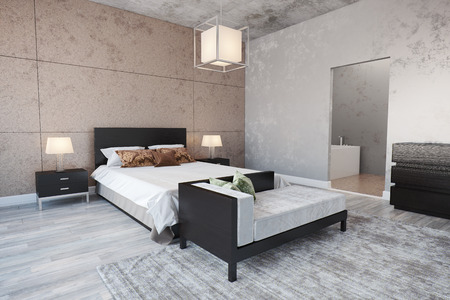 Modern Bedroom interior with a bed. Stock Photo