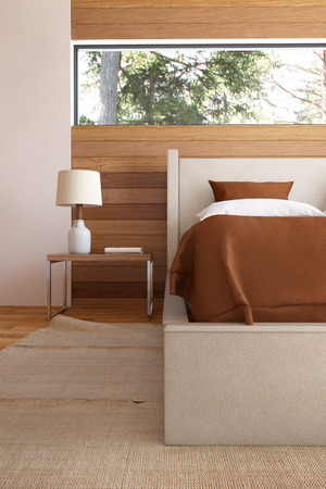 bedroom furniture: Bedroom interior with bed wooden front walls and lamp.