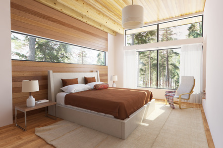 interior render: Wooden bedroom interior with bed wooden front walls and big window with nature view.
