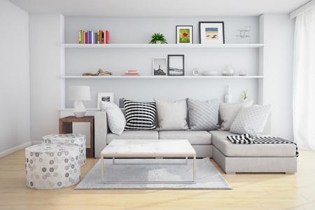 Interieur van een woonkamer met planken en bank met kussens. Stockfoto