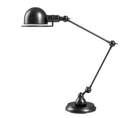 Vintage black table lamp on white background. Stock Photo