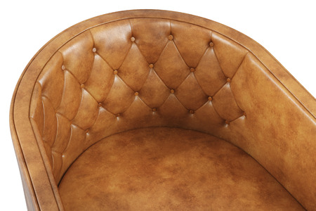 Close-up of leather armchair on white background.