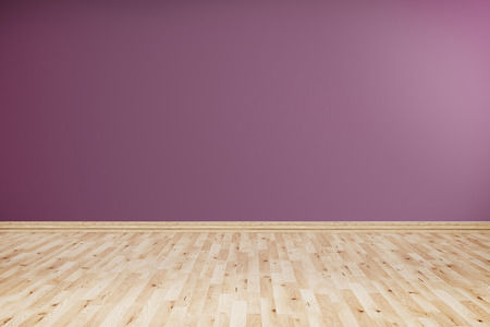 Empty room with wooden floor and violet wall.