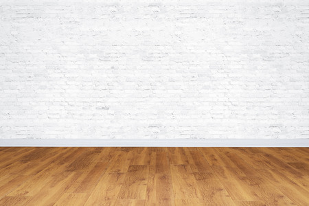 wood floor: Empty white bricks room with wooden floor