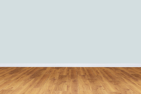 Empty gray wall room with wooden floor Stock Photo