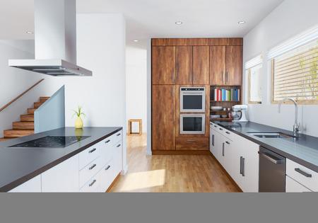 Modern kitchen interior with furnitures.