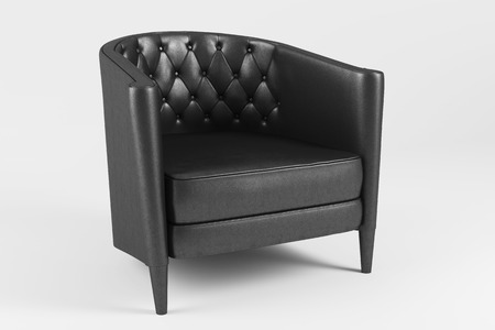 Classic black leather armchair isolated on white background. Stock Photo