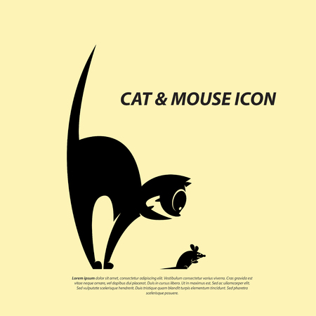 Cat & Mouse Icon Flat