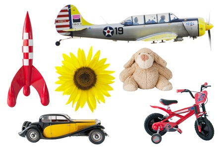 boys toys - rocket, bear, car, bike, airplane, sunflower photo