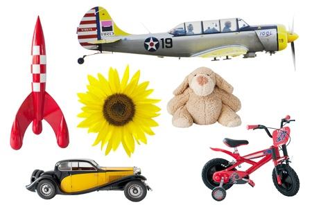 favourite: boys toys - rocket, bear, car, bike, airplane, sunflower Editorial