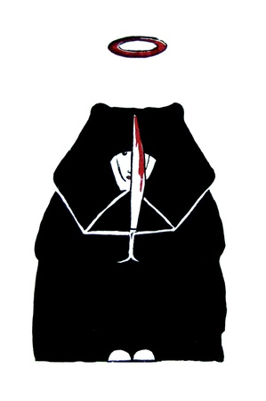 nun: an illustration of a killing nun using a sword