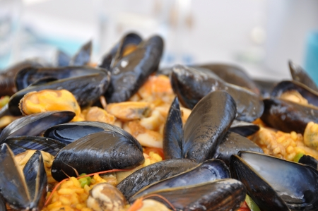 shrimp boat: a paella pot with shell fish and rice