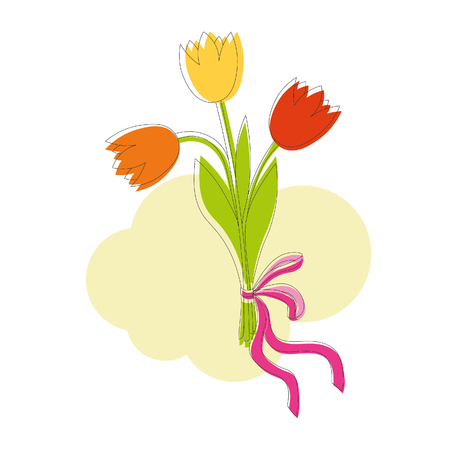 tulips isolated on white background: Bouquet of orange, yellow and red tulips with pink bow and ribbon on yellow abstract background
