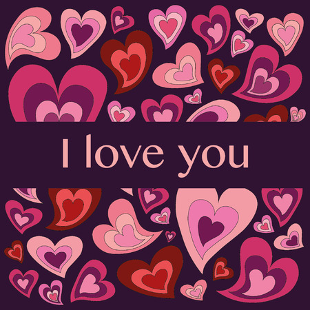 confession: Valentines day greeting card with colorful hearts and love confession on purple background Illustration