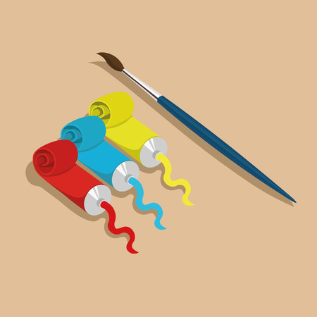 tempera: Three paint tubes and a brush isolated on brown background