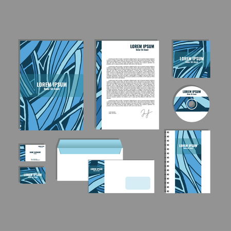 movable: Corporate identity template with hand drawn dark blue exotic tropical leaf pattern, creative stationery branding mock-up set of separated, movable objects. Illustration