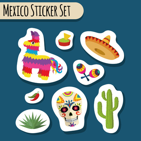 Mexico bright sticker set with national Mexican objects: sombrero, skull, agave, cactus, pinata, jalapeno peppers, maracas, guacamole and nacho chips isolated