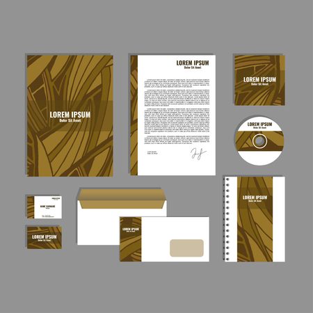 movable: Corporate identity template with hand drawn brown exotic tropical leaf pattern, creative stationery branding mock-up set of separated, movable objects.
