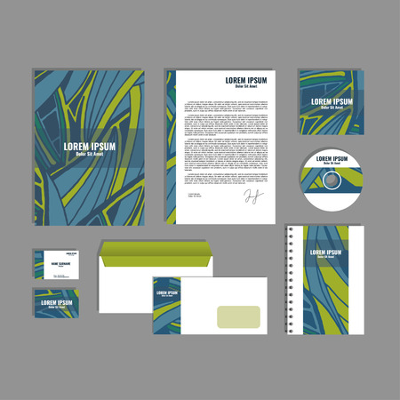 movable: Corporate identity template with hand drawn blue and green exotic tropical leaf pattern, creative stationery branding mock-up set of separated, movable objects. Illustration