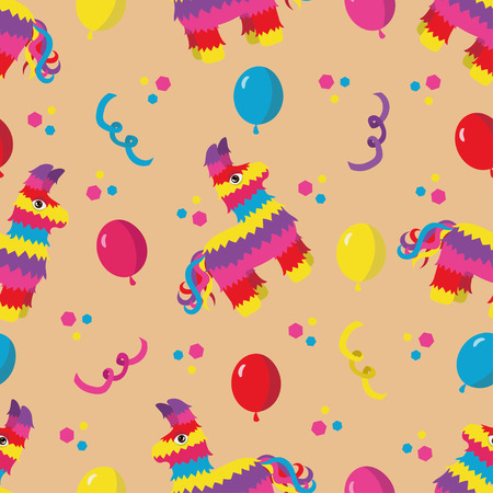 pinata: Birthday party seamless pattern with colorful pinata, balloons and confetti on orange background