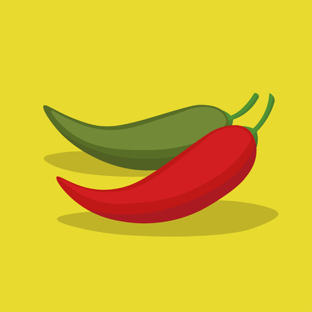 Two cartoon chili peppers with shadows on yellow background