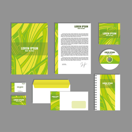 movable: Corporate identity template with hand drawn yellow and green exotic tropical leaf pattern, creative stationery branding mock-up set of separated, movable objects. Illustration