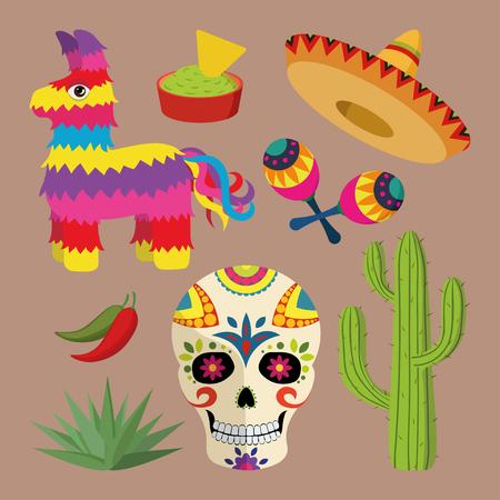 sombrero de charro: México icono brillante fijó con objetos nacionales mexicanos: sombrero, cráneo, agave, cactus, piñata, pimientos jalapeños, maracas, guacamole y nachos aislados en el fondo marrón