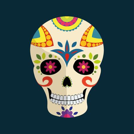 Dag van de Dode Mexicaanse kleurrijke suikerschedel met bloemenornament en schaduw die op donkerblauwe achtergrond wordt geïsoleerd