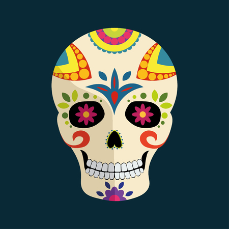 Day of The Dead mexican colorful sugar skull with floral ornament and shadow isolated on dark blue background
