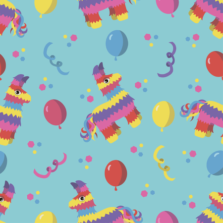 pinata: Birthday party seamless pattern with colorful pinata, balloons and confetti on blue background in vector for backgrounds, wrapping paper, greeting cards, invitations etc.
