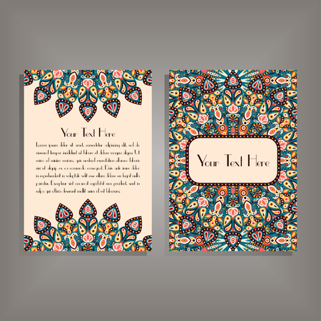 movable: Flyer with round mandala pattern and ornament. Oriental flyer mock-up, floral card design layout template. Size A5. Front and back sides. Editable and movable objects. Illustration