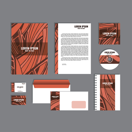 movable: Corporate identity template with hand drawn red exotic tropical leaf pattern, creative stationery branding mock-up set of separated, movable objects.