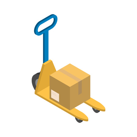 stacker: Isometric yellow stacker with cardboard delivery box, vector illustration. Illustration