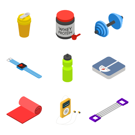 movable: Isometric fitness icon set, movable objects isolated on white background: shaker, whey protein jar, dumbbell, smart bracelet with heart rate monitor, bottle, scales, mat, audio player, hand expander.