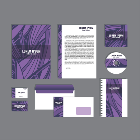 movable: Corporate identity template with hand drawn purple exotic tropical leaf pattern, creative stationery branding mock-up set of separated, movable objects.