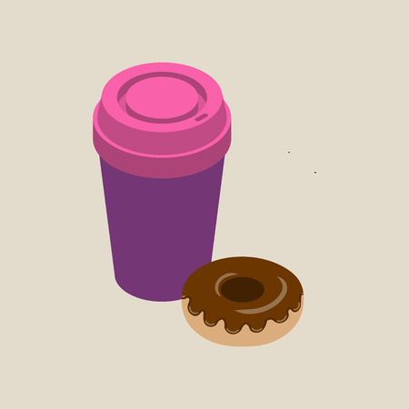pink cap: Isometric paper cup of coffee with pink cap and chocolate glazed donut isolated on beige background, vector illustration. Illustration
