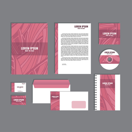 movable: Corporate identity template with hand drawn pink exotic tropical leaf pattern, creative stationery branding mock-up set of separated, movable objects.