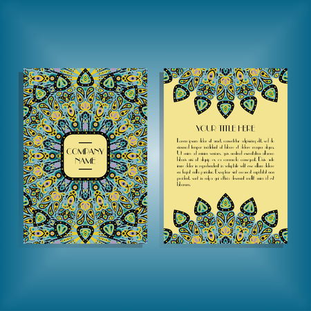 sides: Flyer with blue, yellow and green round mandala pattern and ornament. Oriental flyer mockup, floral card design layout template. Size A5. Front and back sides. Editable and movable objects.