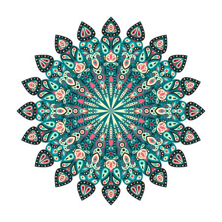 Rond mandala. Arabisch, Indisch, Islamitisch, Ottomaans ornament. Groen, blauw en rood bloemenpatroon, motief geïsoleerd op een witte achtergrond. Vector illustratie.