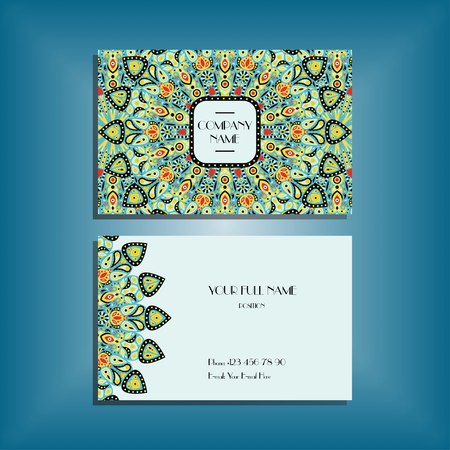 sides: Oriental business card mockup with green and red round mandala pattern and ornament, floral card design layout template. Size 85mm x 65mm. Front and back sides. Editable and movable objects.