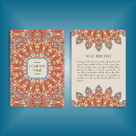 movable: Flyer with round red and blue mandala pattern and ornament. Oriental flyer mockup, floral card design layout template. Size A5. Front and back sides. Editable and movable objects. Illustration